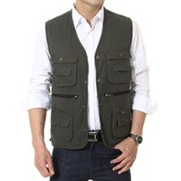Wholesale Hot Selling Men Vest Cotton Outdoor Waistcoat Multifunctional Photography Director Men Jacket Coat Asian Tag Size XL XL WM0039 smileseller