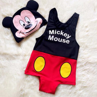 baby girl swimsuit minnie - Baby swimwear suits boys girls Mickey Minnie pattern swimsuit swimming cap kids sets fashion children clothing