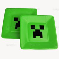 Wholesale Minecraft Paper Plates Dish Creeper Green Paper Cups Disposable Cups Plate Christmas Decoration Birthday Party Supplies Tableware Set DHL