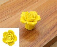 Wholesale Rose Ceramic Cabinet Knobs Drawer Pulls Handles Painted Vintage for Cupboards Easy to Install And Durable