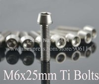 Wholesale 10Pcs Titanium Ti Gr5 M6x25mm Tapered Socket Cap Head Bolt Screw