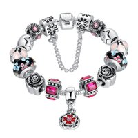 Wholesale Wholesales European Style Silver Pandora Murano Glass Beads Charm Bracelet For Women With Red Zircon Crystal Bangle Jewelry DIY Jewelry
