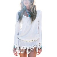 tunic shirt - 2016 Summer Women Boho Tassel Dress Short Vestido Sexy Lace Crochet Chiffion Tunic Hollow White Beach Shirt Dress Blusas