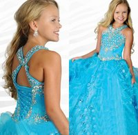 Wholesale Ball Gowns Organza Ruffles Pageant Dresses For Girls Glitz Blue Halter Beaded Backless Custom Made Full Length Flower Grils Gowns