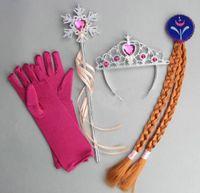 magic rose - Fashion Carton Movie Rose Red Frozen Glove Crystal Crown Magic Wand Cosplay set Party Elsa Anna Kids Girls Gift