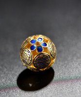 Wholesale Cloisonne crafts DIY jewelry beads accessories S925 gold plated silver hand hollow out mm every bead spacer beads Fashion Jewelry Gifts