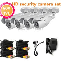 Wholesale 4pcs HD h TVL Color Indoor Outdoor night vision CCTV security surveillance Camera with m BNC cable For DVR Kit