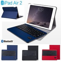 Wholesale Wireless Detachable Bluetooth Keyboard case cover For iPad Air Bluetooth V3 with Stand Holder Leather Smart Cover Case for iPad