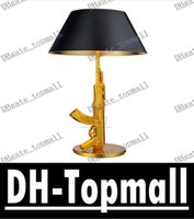 Wholesale Modern submachine gun table lamp Bedside Lamp gold and silver color Philippe Starck light living room bedroom desk lighting tommy gun