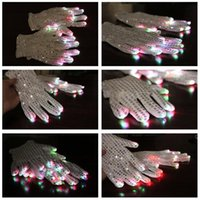 Wholesale Big Disocunt pairs white LED Lighting Glow Gloves Batteries Included Rave Light Flashing Finger for christmas party