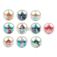 Wholesale Mixed Frozen Cartoon Princess Printed Beads mm Chunky Bubblegum Beads Acrylic Pearl Beads for DIY Kids Jewelry