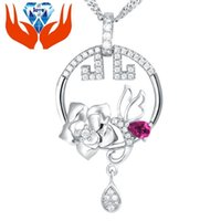 bee sterling - 925 Sterling Silver Rose Pendant inlaid stone imitation micro bright silver jewelry Elegant Angel goddess bee Pendant