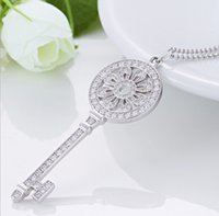 Wholesale Fine Jewelry Silver Key Pendant Guaranteed Solid Sterling Silver Pendant With Cubic Zirconia yh4219