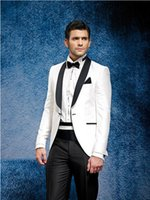 beach wedding tuxedos - 2016 White Jacket Black Pants Summer Suit Beach Dress Tuxedos Men Suit Tuxedo Tailcoat Wedding Traje De Novio Costume Uomo