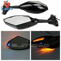 Wholesale ZJMOTO Amber Blue LED Turn Signal Side Mirror Motorcycle Rearview Mirrors With Indicator Light Universal For Street Bikes GSX R