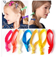 achat en gros de cheveux corde multicolore-100pcs / lot mode Multicolor corde élastique Bandeaux Knot cheveux Rubans ralingue Coiffe Enfants / Femmes Accessoire cheveux