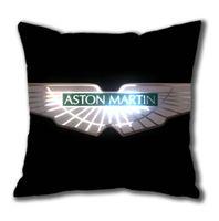 aston martin logo - Aston Martin Car Logo on Black Square Pillow Case