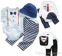 Wholesale new baby cotton gentleman bow tie jumpsuits boys girls Long sleeved Rompers hat pants sets children clothing suits