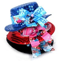 Wholesale FROZEN bow hat Christmas gifts Children hair accessories Fashion sequins ELSA ANNA girl sun hat