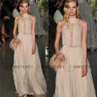 Wholesale Elie Saab Spring Couture Formal Evening Dresses A Line Custom made Sexy High Neck Chiffon and Lace Party Prom Gowns Floor Length Summer