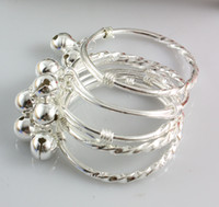 Cheap Baby Children Child Silver Bracelets Jingle Bell Charms Size Can Be Adjusted Girls or Boys Gift 20pcs lot