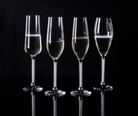 base flute - Wedding party favors Crystal champagne flutes a set with crystal base and moving crystal stem wine glass