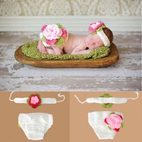 Cheap Lovely Baby Infant Crochet Flower Headband Pants Set Baby photography props Kids Baby Knitted Costumes Photo Props 1set MZS-14020