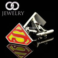 Wholesale Silver superman yellow cufflinks male French shirt cuff links for men s Jewelry Gift