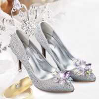 Cheap 2015 Bling Sliver Princess Wedding Shoes Hot Sale Beads Crystals High Heel Pointed Toe Women's Shoes for Prom Party Event