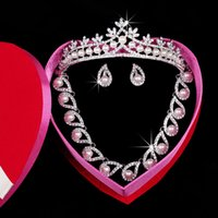 beautiful earrings images - 2015 Real Images Rhinestone Beautiful Shining Crystal Earrings Pearls Wedding jewelry Sets Hair Piece Bridal Accessory Jewelry Tiaras