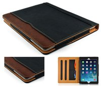 air cards - iPad6 Black Tan Leather Wallet Stand Flip Case Smart Cover With Card Slots for iPad Air Pro Air2 Mini Mini4