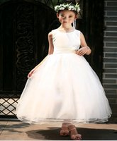 Cheap 2015 New Flower girl wedding dresses Pageant gown ankle length Europe Applique children Vest Dress for girls birthday party 160 2T-13