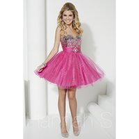 banded dress shirt - 2015 Newly Sweety A Line Homecoming Dresses Sweetheart Sleeveless Backless Zipper Dress Sequins Band Crystal Tulle Mini Party Gown