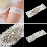 leg garter - Lace Bridal Garters White Ivory Cheap Sexy with Crystal Beads Wedding Leg Garters Bridal Accessories C255