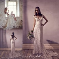 Wholesale Vintage Bohemian Wedding Dresses Anna Campbell Lace Beach Bridal Gowns V Neck Backless Simple Elegant Formal Wedding Dress