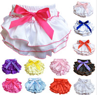 baby ruffle bloomers wholesale - Mix colors Baby Bloomers Girls Pettiskirt TUTU underwear Panties Toddle Kids Underpants infant newborn ruffled satin PP pants Kids Cloth