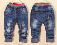 Cheap Korean Style Boys Skeleton Jeans Kids Skull Shorts Boys Tights Boys Children Clothing Boys Jeans