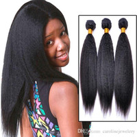 yaki weave hair - Top Grade Pieces Afro Kinky Straight Remy Hair Extension Weaving Black Women Brazilian Weave Italian Coarse Light Yaki