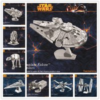 Wholesale Nano Puzzles Star Wars D metal model DIY Millennium Falcon X WING ATAT Mini Gift to children Originality LA161