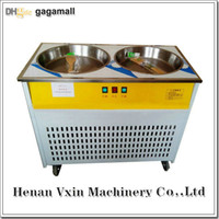 Wholesale 220V Hz double round flat pan milk fruit chocolate fried ice cream machine fry ice pan frying ice cream roll machine