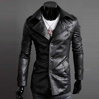 Wholesale Fall High Quality Mens Black Brown Leather Trench Coat Single Breasted Punk Leather Jacket for Men Turn down Collar Jacket Harley