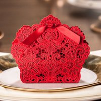 box - Red Laser Cut Candy Box Wedding Favors Designer Box CB057 Matching with Invitation CW057 with Bowknot