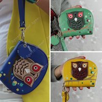leather owl purse - 2015 New Fashion PU Leather Women Wallet Owl Printed Double Zipper Wallets Gift Purse bagSV010291