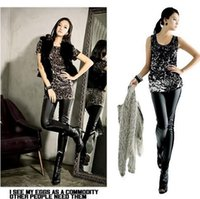Cheap New hot sale Women Stitching Stretchy Faux Leather Leggings Pants Trousers Hot Selling Leather leggings