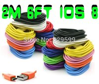 Wholesale 200pcs M FT Charge Colorful Data USB Cable for iPhone plus S C for ipod touch th for iPod Nano th mini