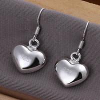 Cheap -E022 Lose money Promotion! Wholesale 925 silver earrings, 925 silver fashion jewelry, Small Fat Heart Earrings