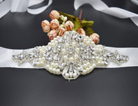Wholesale New White Pure Handmade Stain Women s Bridal Shining Rhinestone Diamond Wedding Party Evening Sashes Waistband Waist Belt