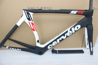 cervelo - 2016 New hot white black full carbon road bike frame cervelo s5 carbono Bicycle frameset BBright size cm cube frame