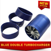 Wholesale universal Turbocharger Double Turbine Fuel Turbo Enhancer Saver Engine Gas Blue Fan Intake Air Supercharger