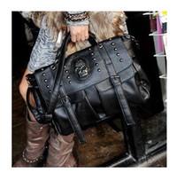 Cheap Freeshipping Best Selling Lady Fashion Bag Designer fashion punk skull rivet bag fashion all-match women's handbag big bags H09